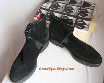 Vintage Black Desert Ankle Boots size 9 Eu 40 UK 6 .5 M Suede n Leather Italy VIA SPIGA Oxford Flat