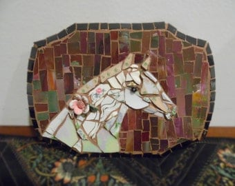 small mosaic white horse picassiette broken china and stained glass horse head plaque portrait