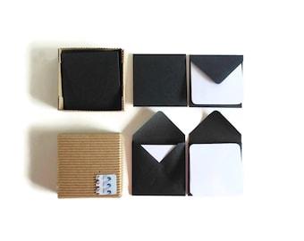 Black Envelopes, White Note Cards, Mini Stationery Set, Square Envelopes, Mini Envelopes, Blank Note Cards, Cute Stationery, Thank You Cards