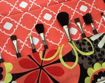 Makeup brush holder , makeup brush roll, Crochet hook organizer, Floral