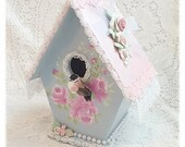 BIRDHOUSE Shabby Cottage Blue Pink Chic ROSES ECS sct svfteam