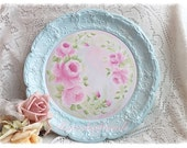 Serving TRAY Pink Hand Painted Roses Shabby Chic ECS sct svfteam