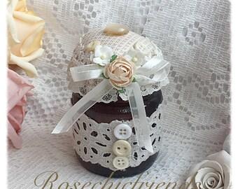 Altered Jar Pin Cushion Shabby Chic Roses Creams ecs svfteam