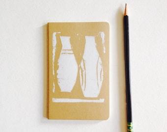 "cahier, moleskine, pottery, lined 3.5"" x 5.5"" handprinted moleskine notebook, linoprint, blockprint"