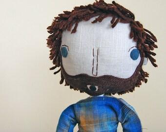 Rag Doll, Dad Gift, Boy Doll, Boyfriend Gift, Father Gift, Cloth Doll, Fabric Doll, Custom Doll, Custom Portrait, Anniversary Gift