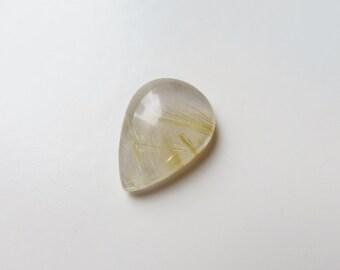 Golden Rutilated Quartz - Teardrop Cabochon, 10.50 cts - 14x19 (GR235)