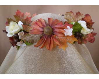 copper Autumn faerie floral head wreath flower bridal crown fall forest wedding rustic boho hair flowers bohemian bride renaissance costume