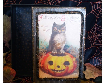 Halloween decoration retro owl vintage postcard art decoupage trinket jewelry box spooky fall Autumn shabby home decor