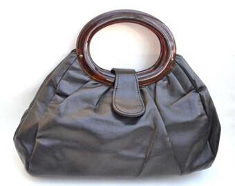 Black Bag, Lucite Handle Purse, Black Purse, Vintage Purse, Small Purse, JR Bag, 1960's Purse, Black Handbag, Purse, Handbag, Black Bag