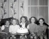 vintage photo 1960 Birthday Cake Little Girls One is Frightened snapshot photo