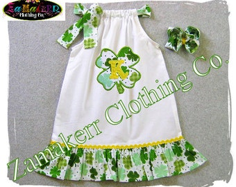Custom Boutique Clothing St. Patrick's Day Girl Pillowcase Dress Toddler Shamrock Irish 3 6 9 12 18 24 Month Size 2t 2 3t 4 4t 5 5t 6 7 8 t