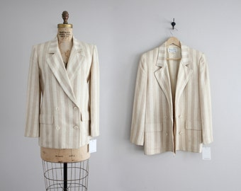 beige striped blazer / Christian Dior blazer / blazer jacket