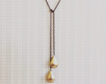 locket necklace - double locket brass lariat teardrop