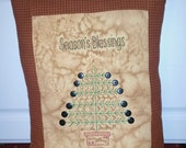 Primitive Seasons Blessings Christmas Tree Stitchery Pillow