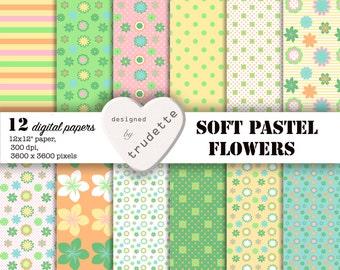 Digital Paper, Soft Pastels, Floral Paper, Instant download, Commercial Use, Scrapbooking paper pack, card making, flowers, dots, stripes