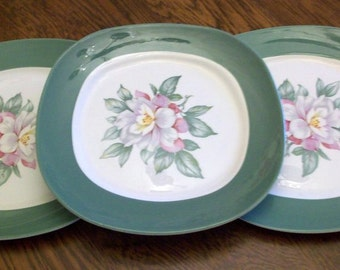 Vintage Taylor Smith Taylor Lady Helen Pattern Plates Peonies Green Trim Gorgeous!