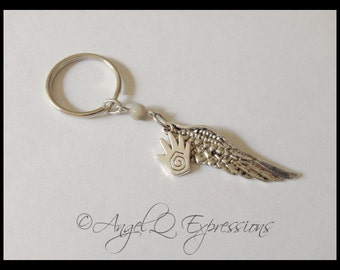 Supernatural Castiel the Angel Keychain with Large Angel Wing, Healing Hand, and Agate Bead