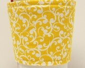 Coffee Cozy/Cup Sleeve Eco Friendly Slip-on, Teacher Appreciation, Co-Worker Gift, Bulk Discount:  Yellow and White Damask