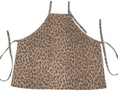 Apron Brown Leopard Waverly animal print cotton fabric full size kitchen adjustable neck loop large pocket long ties