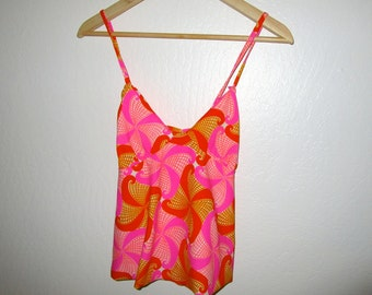 Psychedelic Tank Top - Vintage 60's Pink Orange Swirl Print - Approx. Size SMALL - Polyester Knit Cami Blouse Shirt