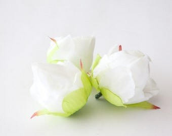 5 Peony Ball Buds in White - 2 inches - artificial flower - ITEM 0519