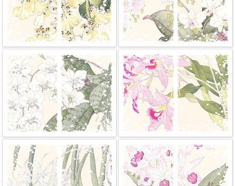 Distressed Japanese Flowers Digital Just-a-Dori Fauxdori  Printable Planner Papers Instant Download Set of 6 - 11 x 8.5 inch JPEG & PDF 2133