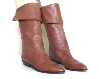 Sz.7 Boots 80s Tall  Riding Boots Tan Leather Flat Boots