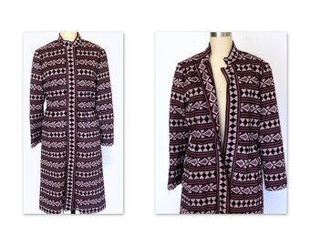 60s Vintage Coat Dress Brown and White Woven Ethnic Print Fitted Dress Sz M