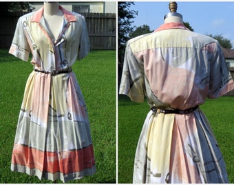 vtg 80s  Dress / 1980s Shirtwaist Dress/ Abstract Print/ Cotton Summer Dress