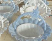 Sale / Vintage / Party Favors / Plastic Nut Cup Baskets / Set of Six / Clown Motif Handles / Light Blue and White