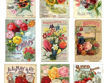 Vintage Seed Packet Digital Download Flower Vegetable Seed Package Garden Gardening Mixed Media Scrapbooking Altered Art Cardmaking