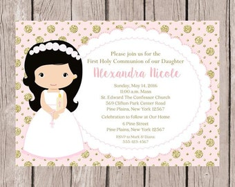 PRINTABLE Girls First Holy Communion Invitation in Pink and Gold / Print Your Own Invitations / Choose Hair Color / You Print - HC12