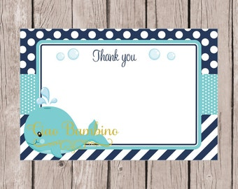 PRINTABLE Whale Thank You Card / 4x6 Thank You Card for Birthday or Baby Shower / Navy Blue, Gray & Turquoise / INSTANT DOWNLOAD - 0027