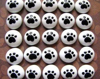 Mosaic Craft Tiles Dog Puppy Pawprint 25 Glass Gem Cabochons White and Black Circles