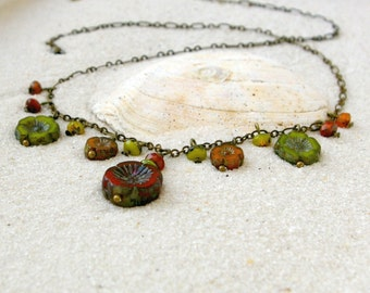 Handmade Necklace - Beaded Necklace - Bead Jewelry - Floral Jewelry - Orange Necklace - Green Necklace - Orange and Green Series