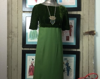 Fall sale 1960s dress maxi dress green dress velvet dress size small vintage dress mod dress 60s dress 32 bust empire waist dress
