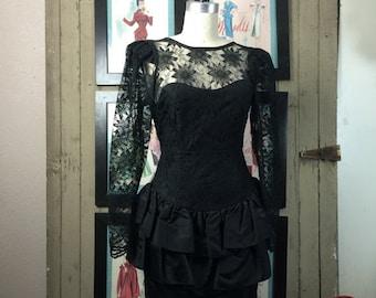 Fall sale 1980s dress cocktail dress peplum dress black lace dress 80s dress size medium vintage dress