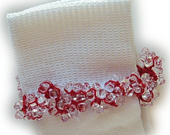 Kathy's Beaded Socks - Clear Red socks, girls socks, tri bead socks, red socks, white socks, school socks, holiday socks, party socks