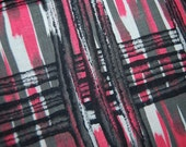 MID CENTURY pink grey fabric ABSTRACT pattern cotton