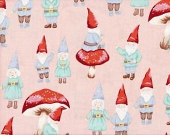Gnome Sweet Gnome - Fabric By Alexander Henry - Pink - 1 Yard - 9.95 Dollars