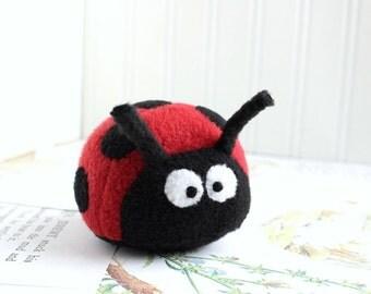 Ladybug Stuffed Animal Handmade Plush Toy Red and Black Kawaii Plush Insect Fleece Bug