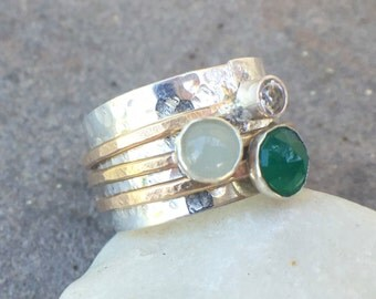 ON VACATION - Sterling Silver White Topaz Aquamarine Green Onxy Gold Fill Wide Band Ring US Size 9