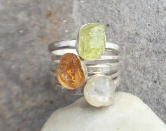 ON VACATION - Raw Green Apatite, Raw Topaz, Raw Aquamarine Sterling Silver Stacking Rings US Size 8.5