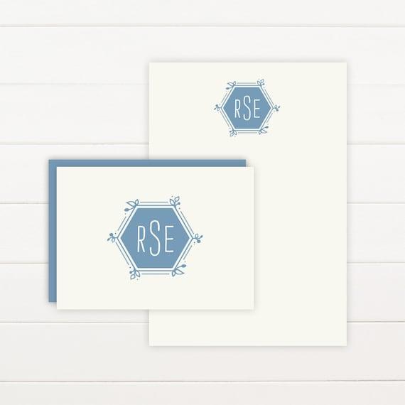 HEXAGON Personalized Stationery + Notepad Set, Personalized Notepad and Personalized Stationary
