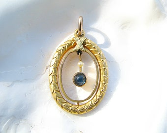 Beautiful Antique Gold Sapphire Pendant Necklace, Elegant Leaf Design, Blue Sapphire Dangle, Victorian Period, Scotland, Choose your Chain