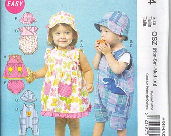 McCalls 6494 Baby Girls Boys Dress Romper Jumpsuit Panties and Hat Sewing Pattern Sizes NB-L Out of Print UNCUT