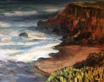 Original seascape oil painting on linen - Shoreline near Pescadero Marsh Natural Preserve