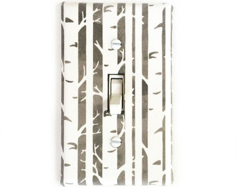 Fabric Light Switch Plate Cover, wall decor - Watercolor grey with birch trees