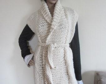 IVORY KNIT VEST/ chunky knit vest / Winter white vest/ womens cardigan/ ivory sweater/cardigan/womens knit cardigan