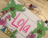 Hand personalized adorable flamingo and beach sign